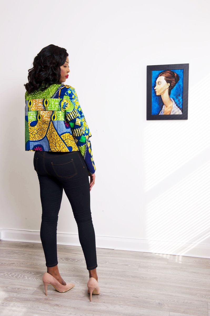 Green Crop African print Jacket  - product images  of