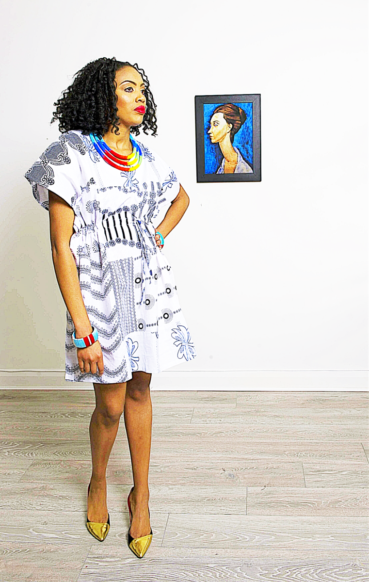 9ad945ce961 White mix African Ankara Tunic Dress - sosome - Ready made African Print