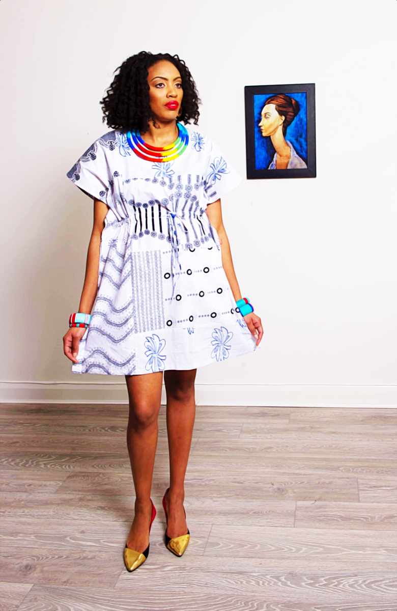 White mix African Ankara Tunic Dress - product images  of