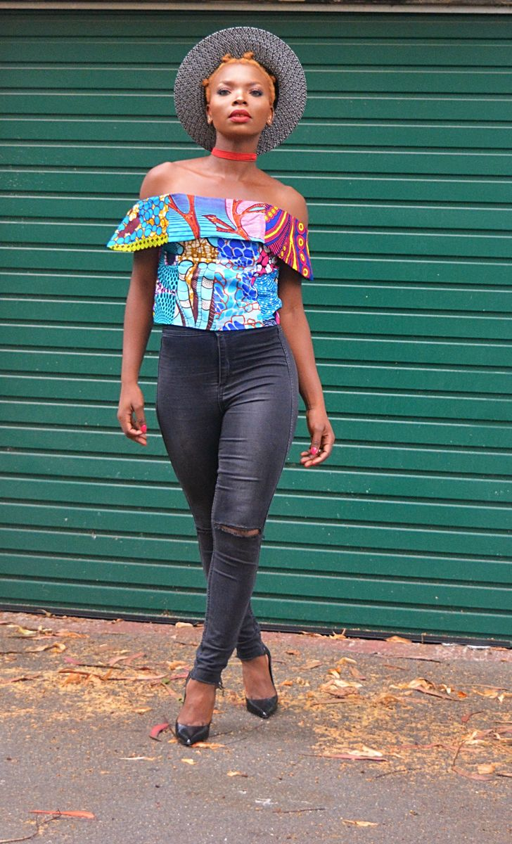 Blue Bardot Ankara off shoulder top - product image