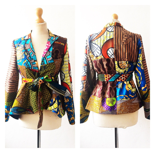 Brown Mix Crop African print Jacket  - product image