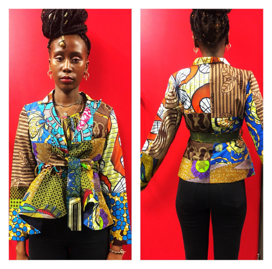 Brown Mix Crop African print Jacket  - product images  of