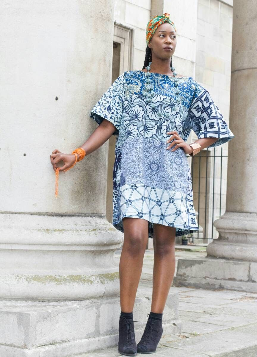 Carla blue African Ankara Tunic Dress - product images  of