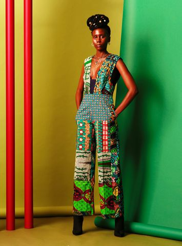 Deep,V,Green,wide,leg,Jumpsuit,Wide leg jumpsuit, Ankara jumpsuits, African jumpsuits, Jumpsuit, Green, Romper, Play suit, Bandeau, green jumpsuit, african fashion, african jumpsuit