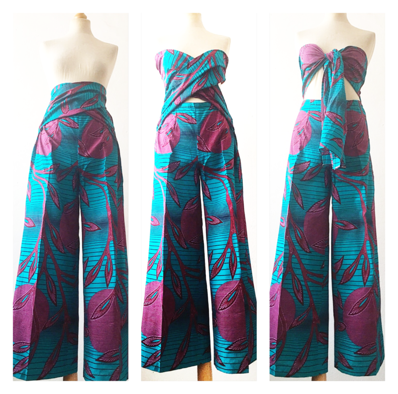 African Blue purple multi Tie up wide leg Jumpsuit - product images  of