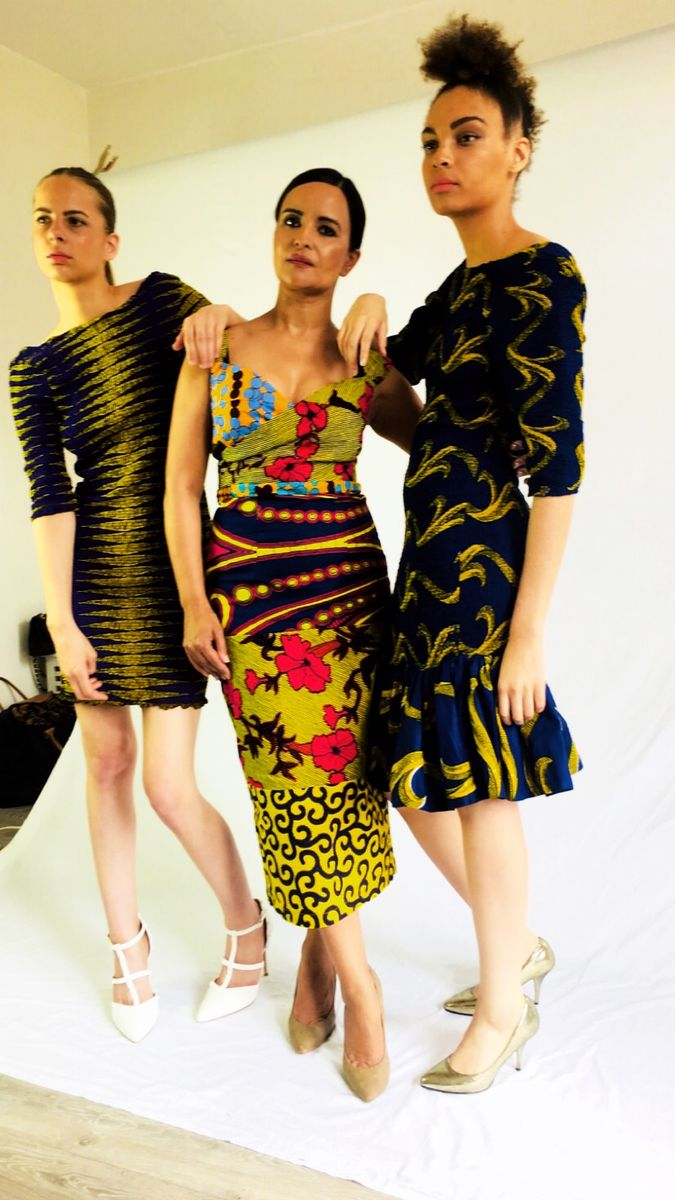 African Print Bodycon Purple Yellow Stretch Fit Ankara Dress - product images  of