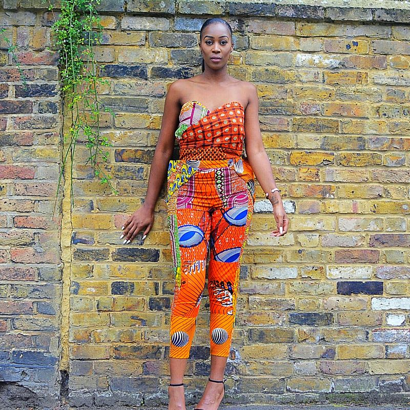 Orange Skinny African Jumpsuit - product images  of