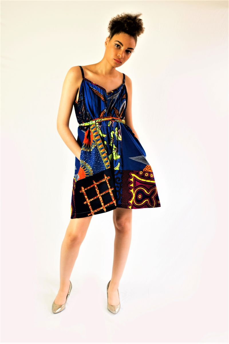 African Ankara playsuit pant dress - product image
