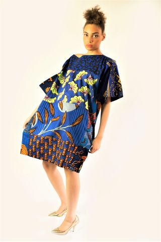 Carla,deep,blue,mix,African,Ankara,Tunic,Dress, Dress, red, turquoise,African print dress, London clothing shops online, blue, embroidery, African tunic, Ankara tunic, blue African dress, blue short African dress, short African dress, African fashion, Ankara fashion dress