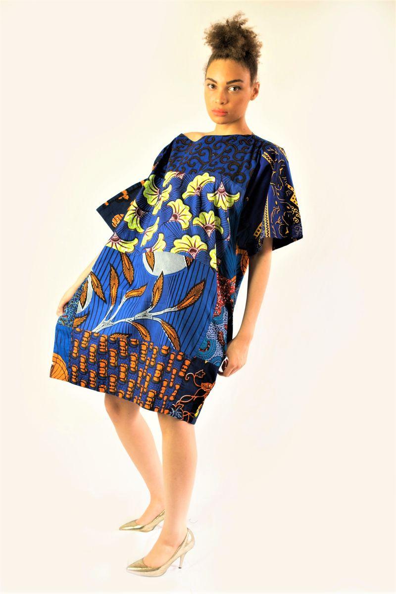 d992fd1c391 Carla deep blue mix African Ankara Tunic Dress - sosome - Ready made ...