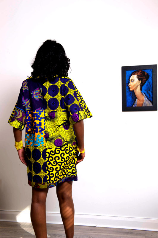 Carla Purple mix African Ankara Tunic Dress - product images  of