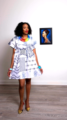 White,mix,African,Ankara,Tunic,Dress,white black african fabric, white black ankara, white ankara dress, white african dress, Tunic, Dress, purple, turquoise,African print dress, blue, embroidery, African tunic, Ankara tunic, blue African dress, blue short African dress, short African dress