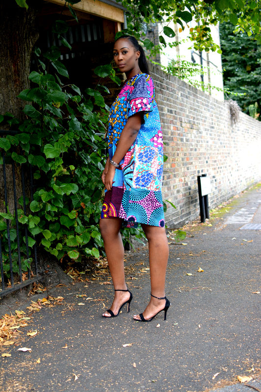Carla Turquoise mix African Ankara Tunic Dress - product images  of