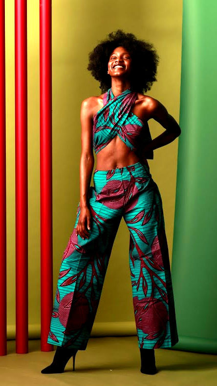 Blue purple multi Tie up wide leg Jumpsuit - product images  of