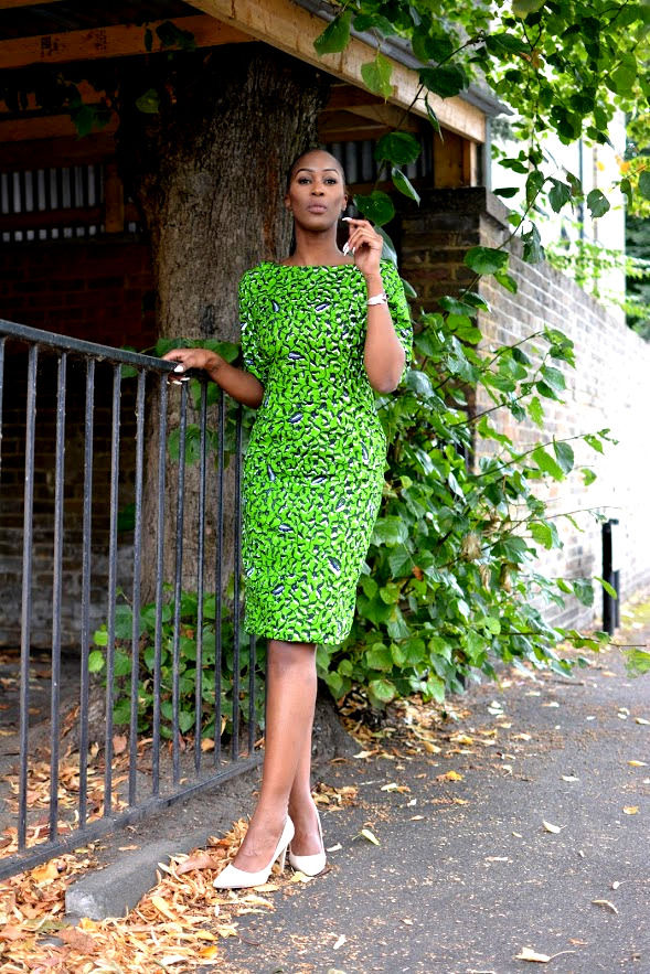 Green Fitted African Print Ankara Dress - product images  of