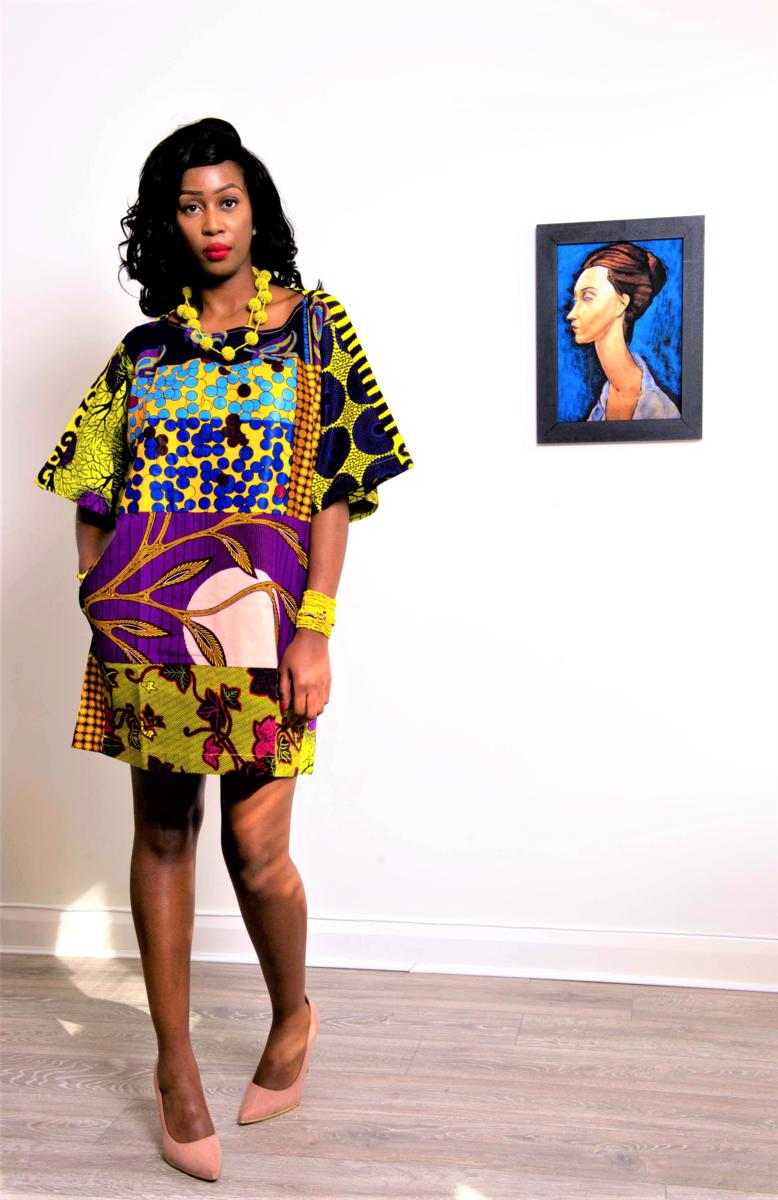 37535857707 Carla Purple mix African print Ankara Tunic Dress - product images of ...
