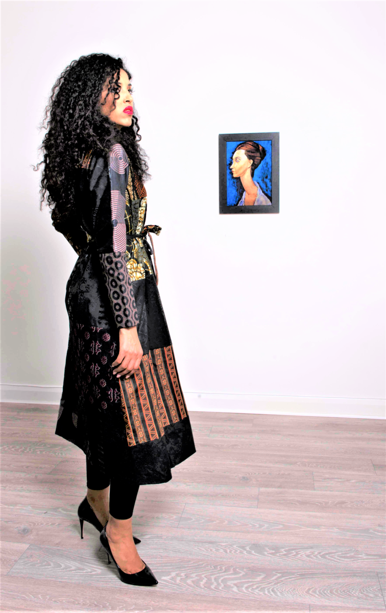 Long Black Brown African Ankara Jacket coat - product images  of