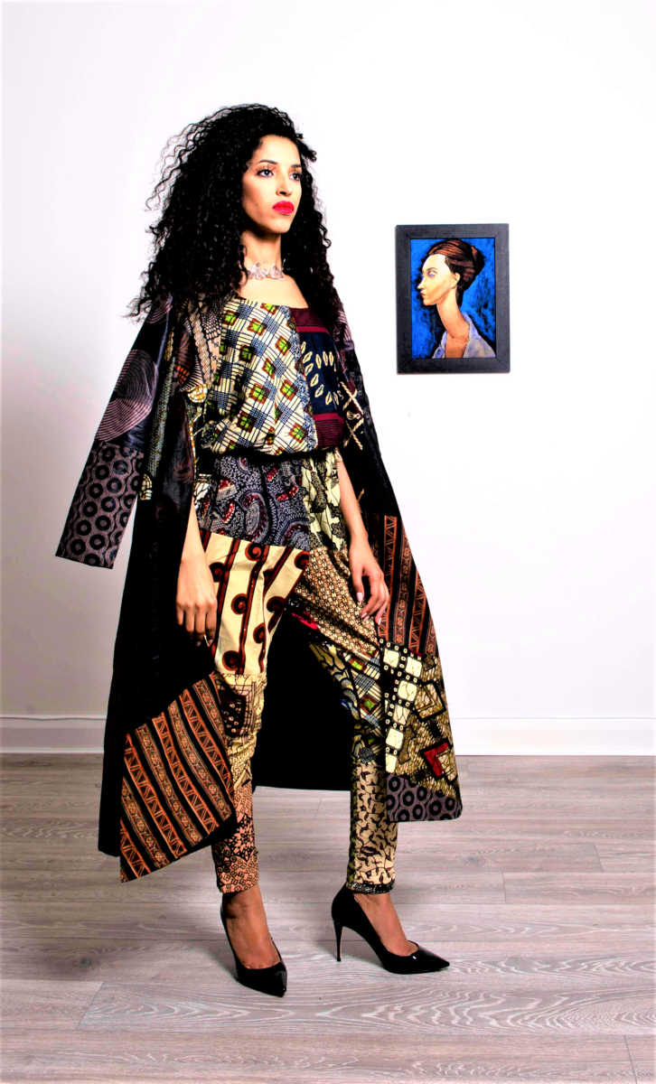 Long Black Brown African Ankara Jacket coat - product image