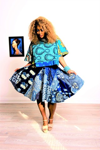 Poppy,African,Skirt,Pencil skirt, flared skirt, blue Ankara skirt, high waist skirt, blue and white African skirt, midi African skirt, African circle skirt, Pink dress, Green Dress, African, Ankara, Print