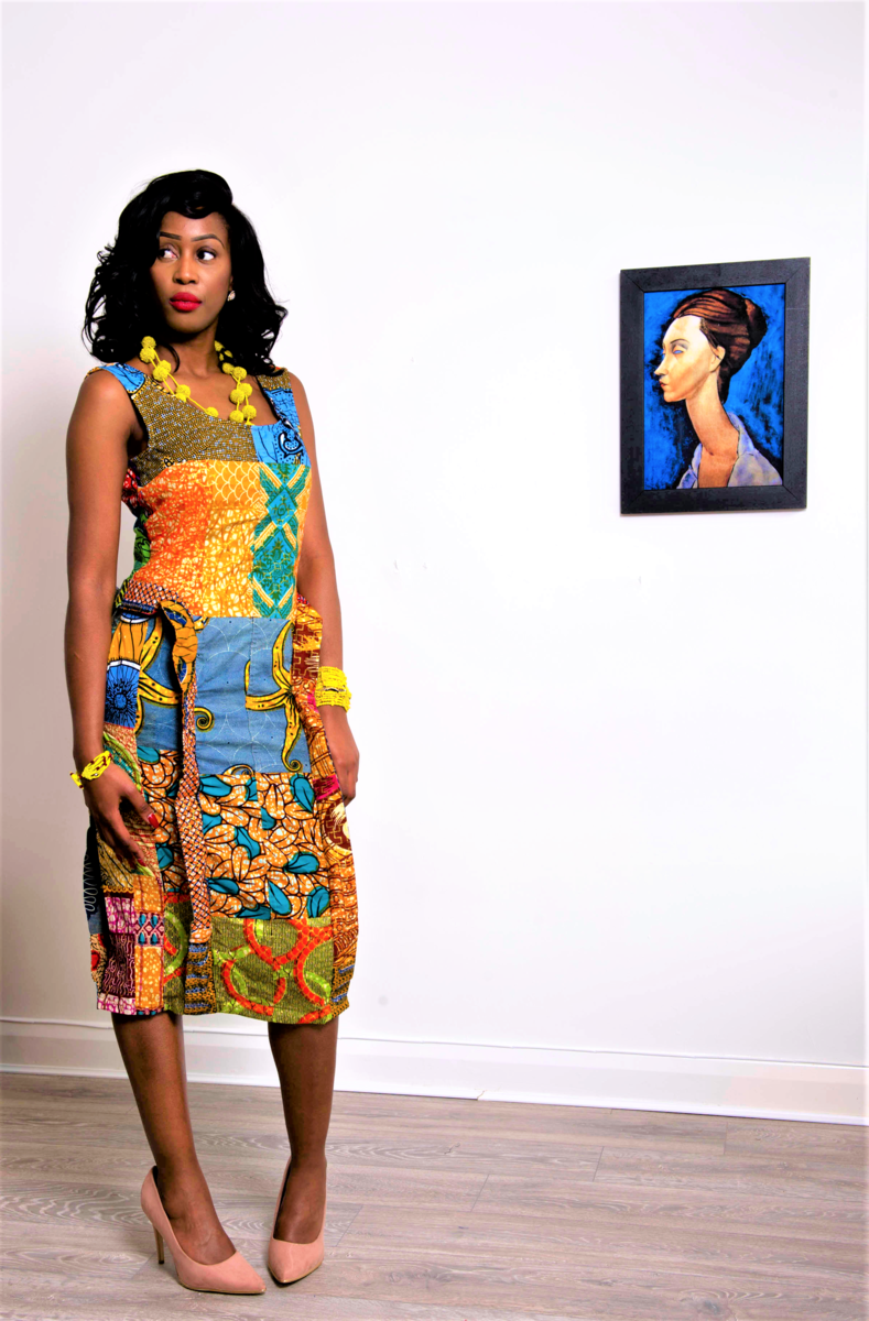 Jessica Gold Fitted Ankara Dress - product image