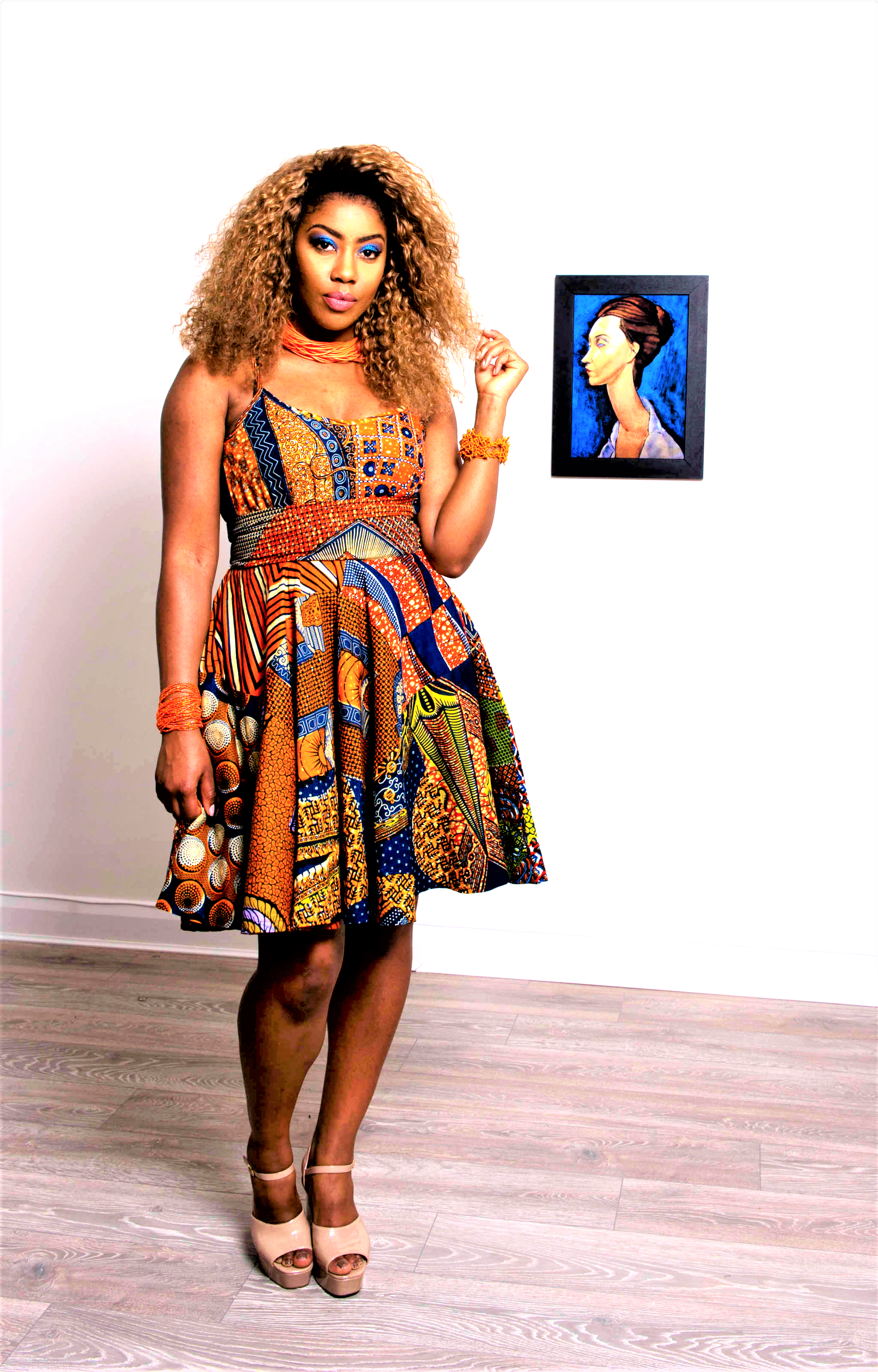 Orange ankara african skirt