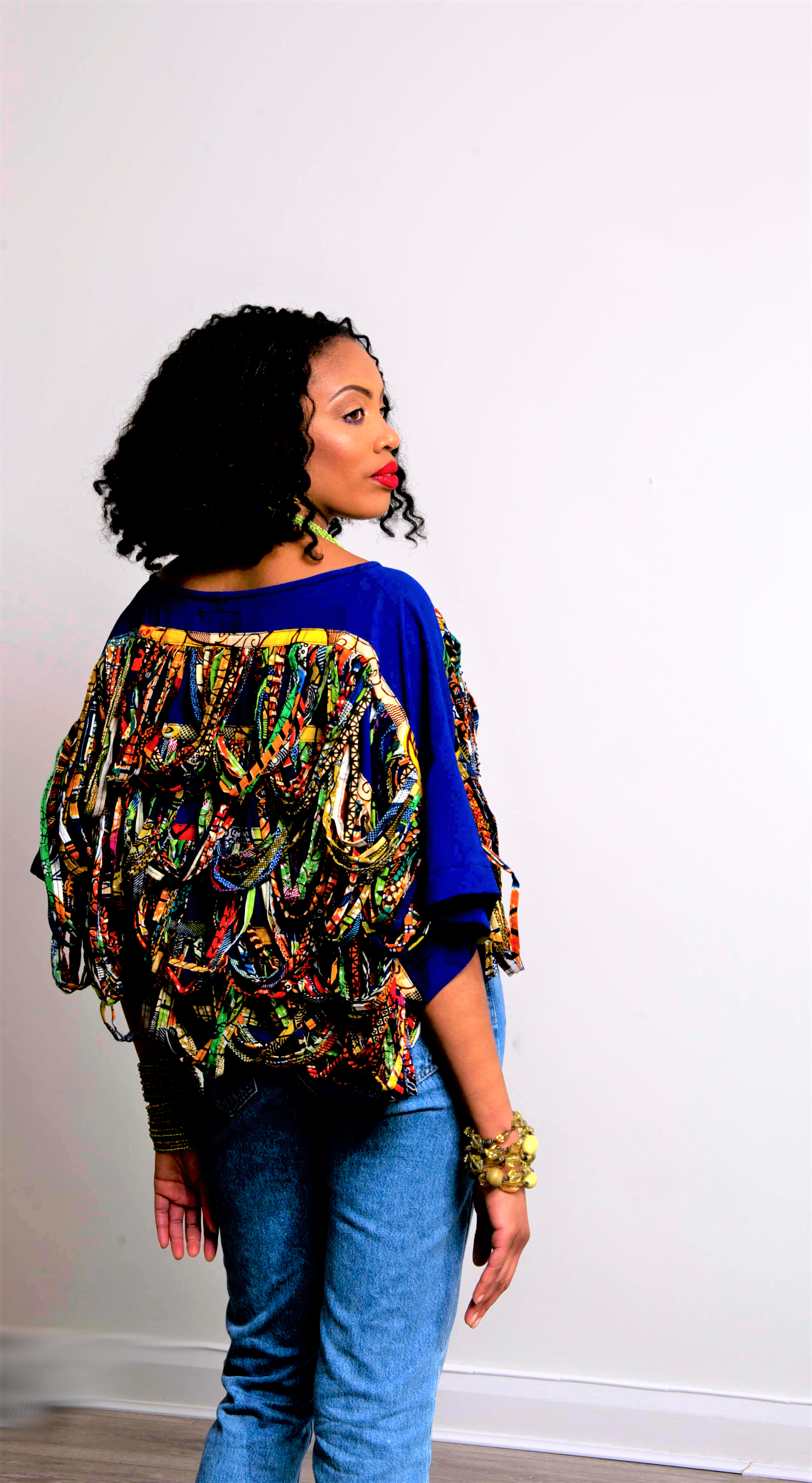 rope blue african fringe top