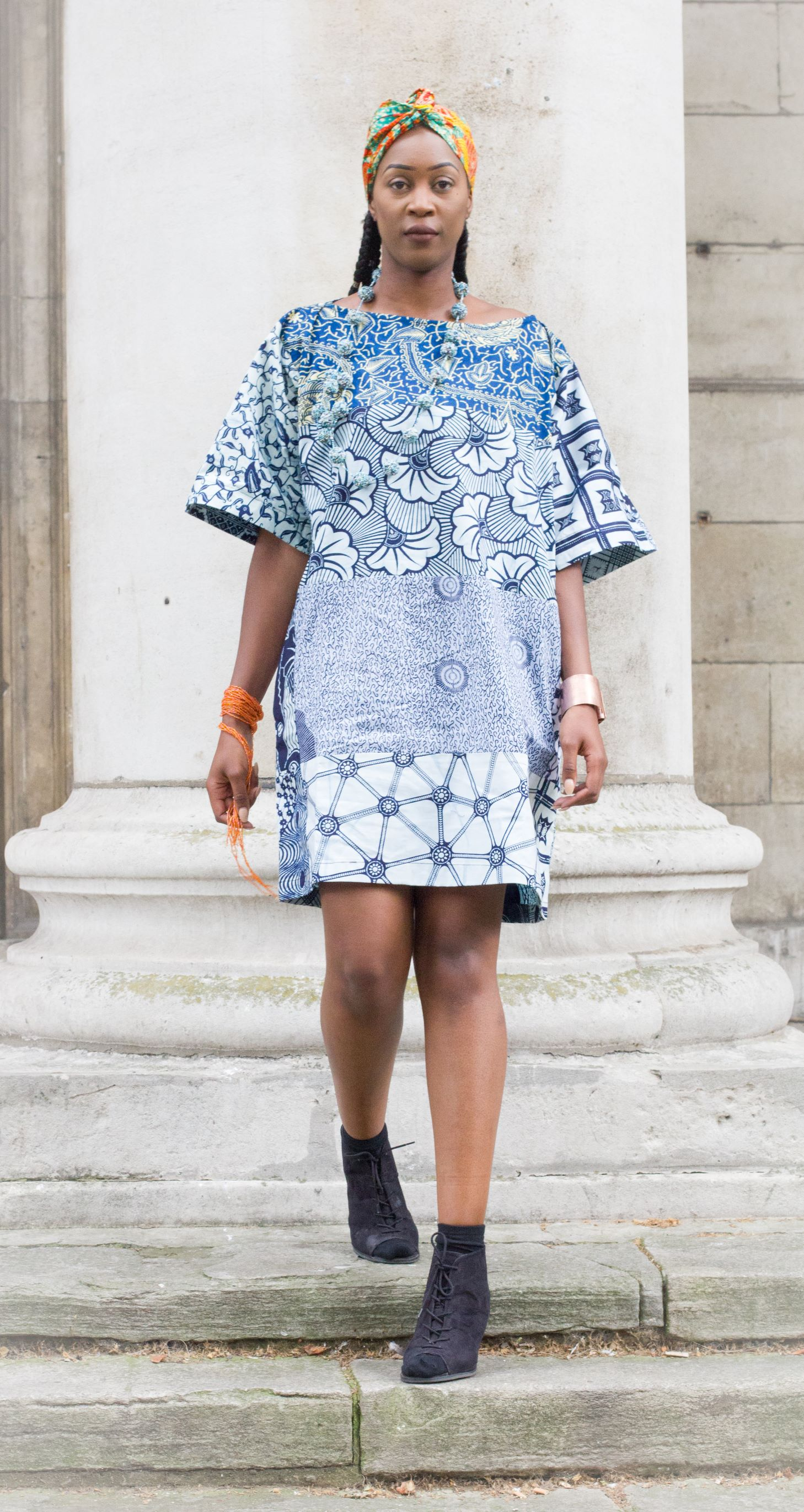 blue grey african ankara tunic dress
