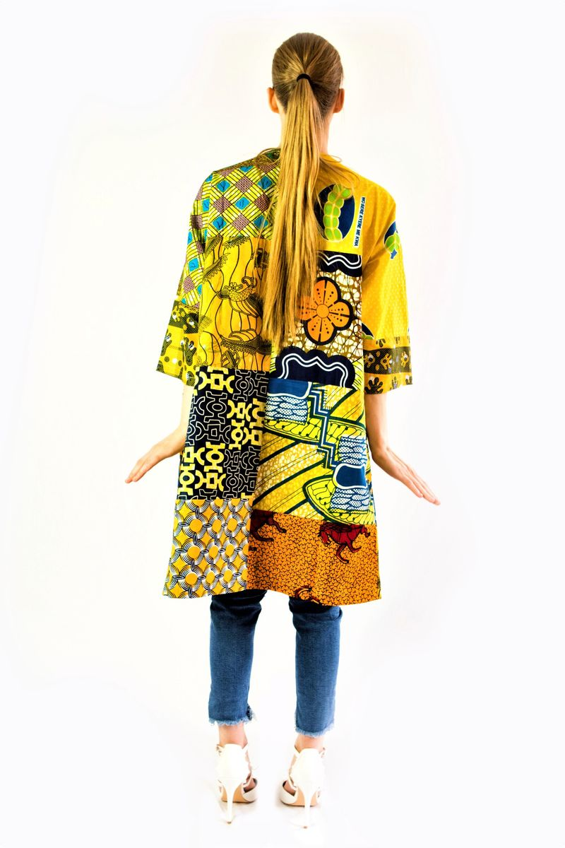Yellow Casual African Print Jacket Sosome Printed With Sash Belt Product Images