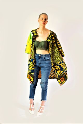 Yellow,casual,African,print,Jacket,African print Jackets,, Ankara jacket, summer jacket, yellow coat, yellow African jackets, Ankara jackets, Ankara coats, drape collar jacket, cream coats, African coats, African jackets, printed coats, printed jackets, drape collar, jackets, coats,