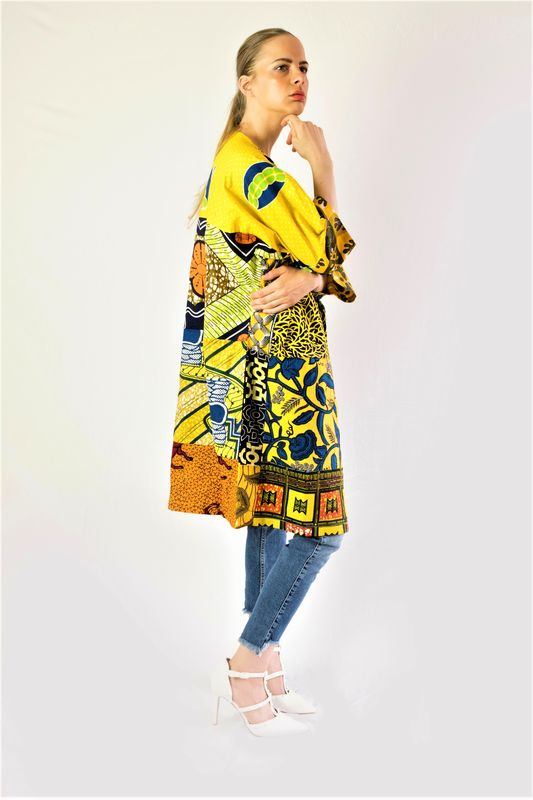 Yellow casual African print Jacket  - product images  of
