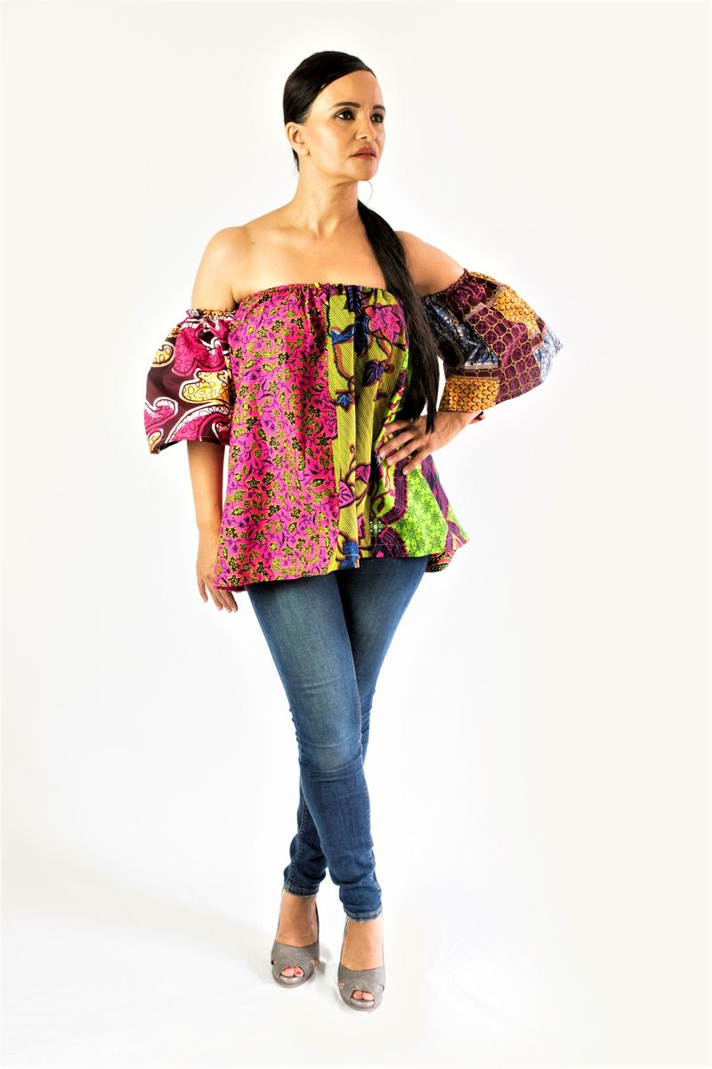 Pink mix African Ankara off shoulder top - product image