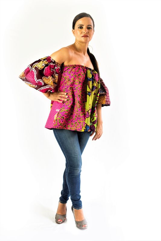 Pink mix African Ankara off shoulder top - product images  of