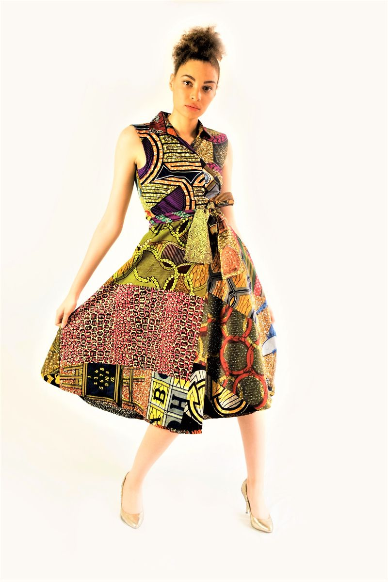Purple/BrownAfrican Ankara Wrap Dress - product images  of