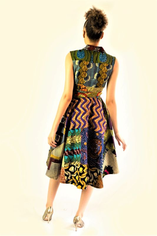 Purple/Brown African Ankara Wrap Dress - product images  of