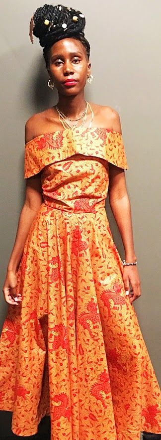 Off shoulder Bardot African Ankara Dress - product images  of