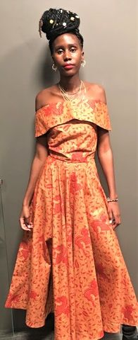Sosome,Off,shoulder,Bardot,Dresses,dip hem African dress, clothing, ankara dress, sosome , bardot African dress, off shoulder, African off shoulder, dip hem, African Fashion, Brown Ankara dress, prom Ankara, Prom African, prom, Blue, Ankara dress, strapless African dress, Fitted African dr
