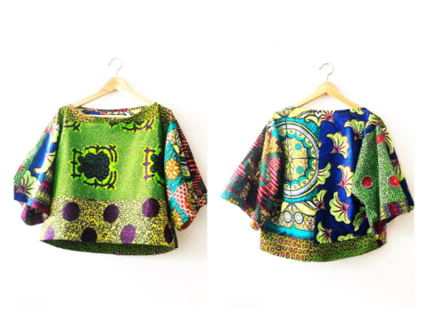 Green,African,Print,Crop,Top,green shirt, green top, crop top, green crop top, African crop top,