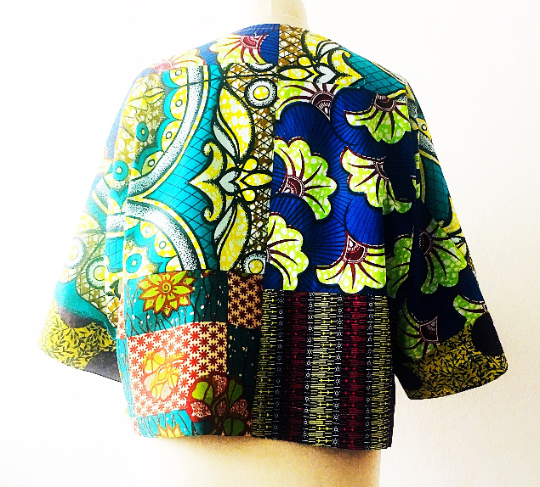 Green African Print Crop Top - product images  of