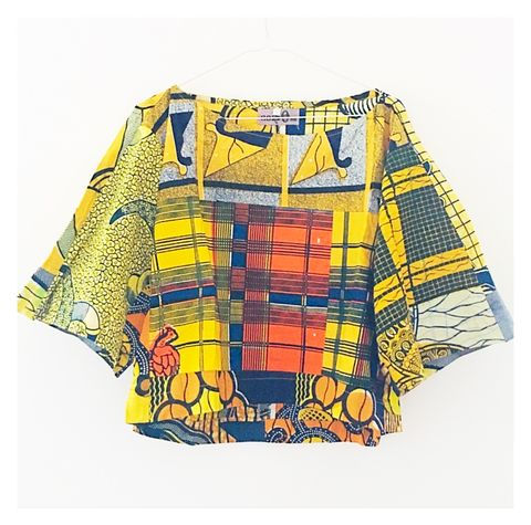 Yellow,African,Print,Crop,Top,yellow, green shirt, green top, crop top, green crop top, African crop top,