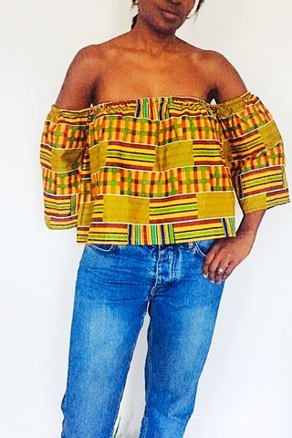 Off,Shoulder,Kente,African,Crop,Print,Top,kente, yellow, purple, off shoulder, african tops, african top, blue, green shirt, green top, crop top, green crop top, African crop top,