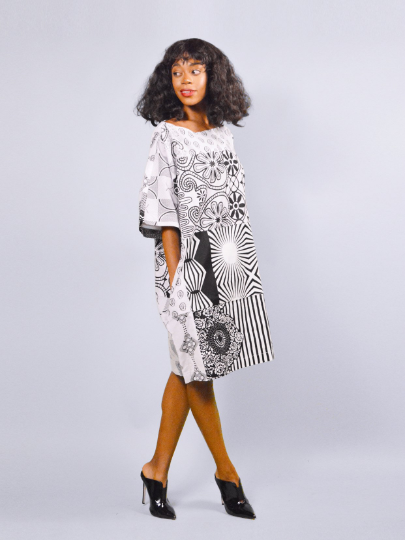 Carla white mix African Ankara Tunic Dress - product images  of