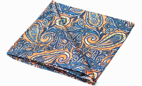 Eikki,pocket square, pocket squares online, pocket square uk, silk pocket square, orange pocket square, orange paisley silk pocket square, mens silk pocket square, printed silk pocket square, mens hank, handkerchief, silk handkerchief, paisley pocket square, si