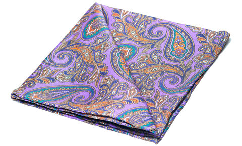 Romain,pocket square, pocket squares online, pocket square uk, silk pocket square, purple pocket square, paisley silk pocket square, mens silk pocket square, printed silk pocket square, mens hank, handkerchief, silk handkerchief, paisley pocket square, silk pais