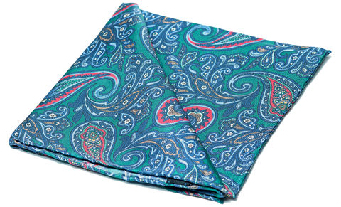 Nicholas,pocket square, pocket squares online, pocket square uk, silk pocket square, green silk pocket square, paisley silk pocket square, mens silk pocket square, printed silk pocket square, mens hank, handkerchief, silk handkerchief, paisley pocket square, silk
