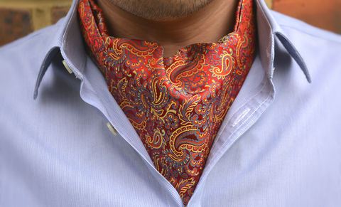 XAVIER,cravat, red cravat, cravat uk, red cravat uk, red silk paisley cravat, red & yellow silk paisley ascot, ascots uk, cravats made in britain, british made cravats