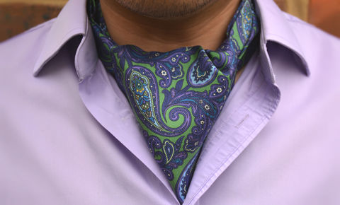 BOREAS,cravat, ascot tie, green purple paisley cravat, green purple paisley ascot tie, silk cravats uk, silk ascots online, buy cravat online, cravats and pocket squares, silk pocket squares