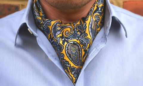 ZEPHYRUS,cravat, cravats uk, cravats online, yellow paisley cravat, silk yellow cravat, printed silk cravat uk, ascot tie uk, yellow cravats, yellow ascot tie