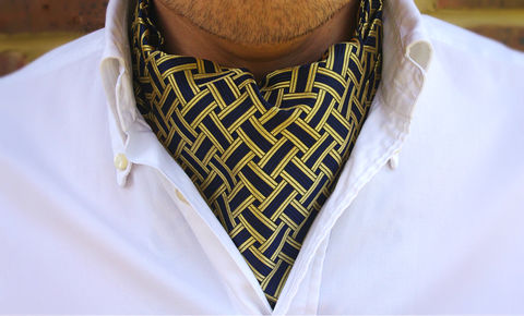 RUEBEN,cravat, day cravat, cravat online, blue cravat, navy cravat, gold cravat, day cravat online, ascot tie online, ascot tie uk, formal cravat, wedding cravat