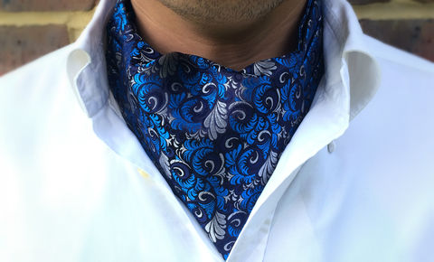 ICARUS,woven silk cravat uk, silk cravat uk, cravat ascot tie, cravat tie uk, ascot for wedding, wedding cravat, wedding ascot, groom cravat, blue cravat
