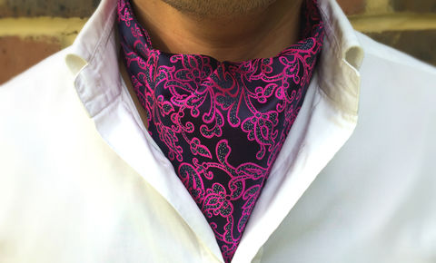 APOLLO,pink silk cravat, pink silk ascot tie, pink and blue silk ascot tie, silk cravats for men, silk cravats online, silk ascot ties for men, cravat tie